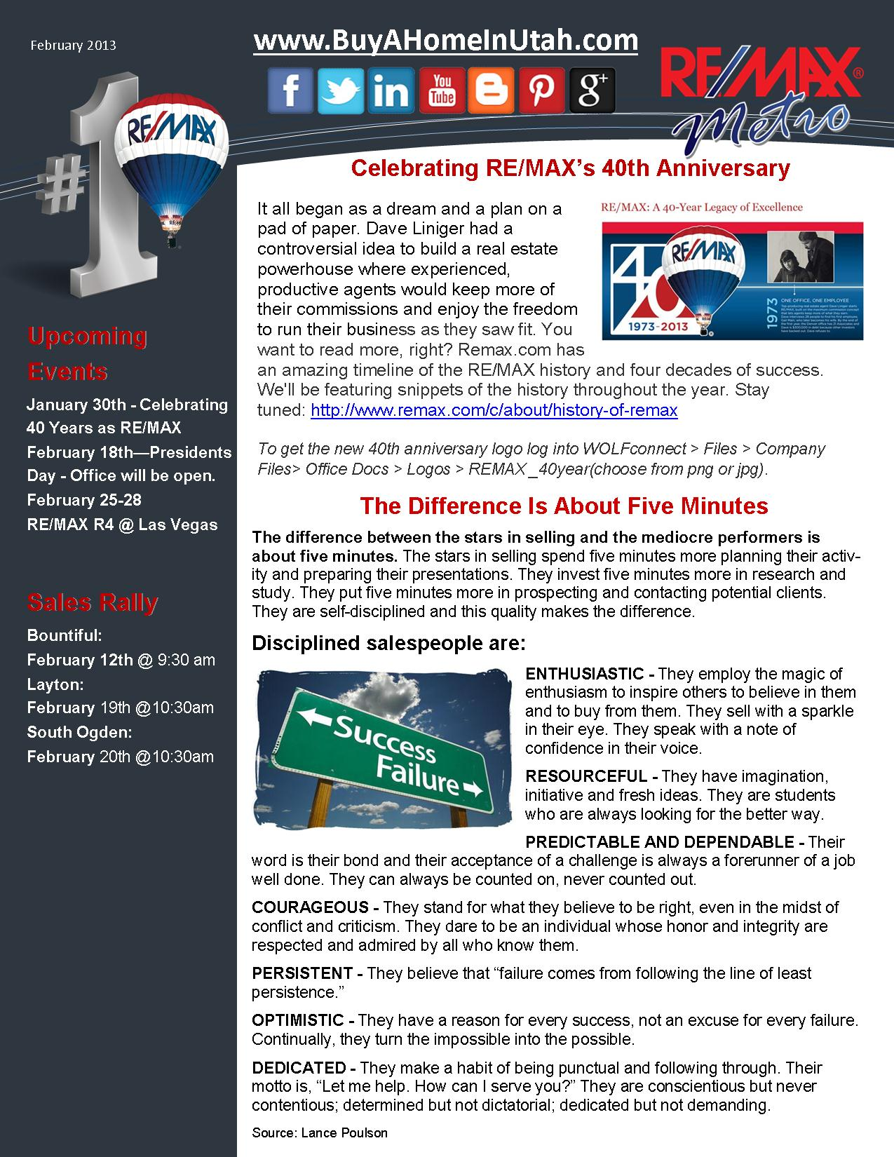 RE/MAX Metro's February 2012 Newsletter